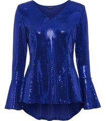 maglia glitterata con maniche a campana (blu) - bodyflirt