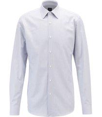 boss men's t-carl slim-fit striped italian cotton twill shirt