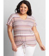 lane bryant women's striped tie-front top 14/16 multistripe