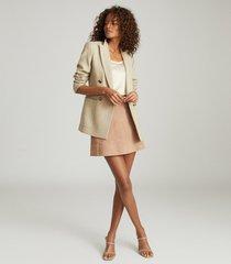 reiss tamarah - snake print leather mini skirt in neutral, womens, size 12