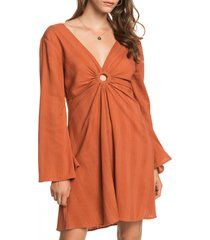 women's roxy nothing compares long sleeve dress, size small - orange