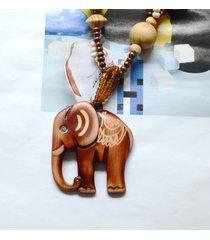 collana pendente d'epoca in legno elefante rotondo perline collana di fascino gioielli etnici per le donne