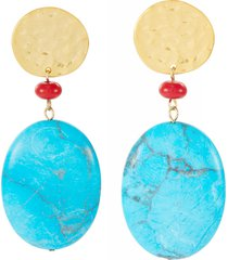 turquoise and red bead satin gold drop earrings
