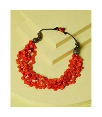 colar de resina - colar frança cor: laranja - tamanho: único