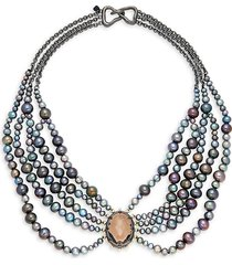 alexis bittar women's 10k gunmetal-plated, 10k goldplated, crystal & faux pearl bib necklace