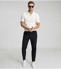 reiss acton - press stud polo shirt in ecru, mens, size xxl