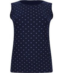 top  estampado lunares grandes color azul, talla xs