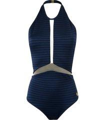 brigitte sheer panel halterneck swimsuit - blue