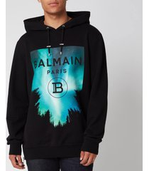 balmain men's printed rubber oversized hoodie - multi - xl