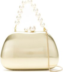 isla metallic clutch bag with pearl detail - gold