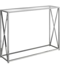 "monarch specialties accent table - 42"" l with tempered glass"