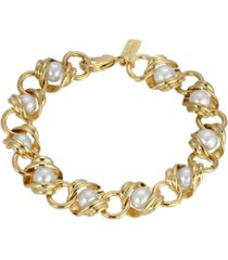 2028 women's 14k gold dipped chain with imitation pearl inset link bracelet