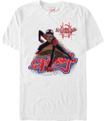 marvel men's spider-man into the spiderverse miles spidey stance short sleeve t-shirt