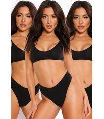 3 pack seamfree triangle bralette, black