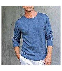 men's cotton blend pullover, 'casual comfort in indigo' (peru)