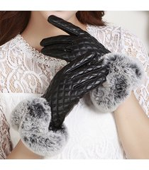 donna guanti invernali a vento in pelle pu di pelliccia artificiale calda di coniglio con touch screen