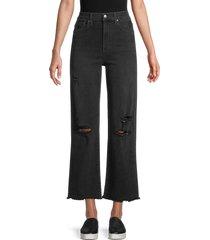 joe's jeans women's high-rise wide leg cropped jeans - grasse - size 25 (2)