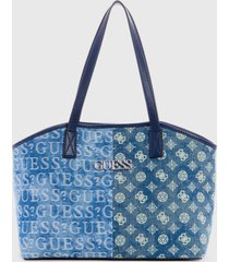 cartera age tote denim  azul guess