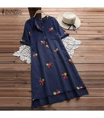 zanzea mujeres floral del verano de manga corta floja ocasional de tapas largas camiseta vestido plus -azul
