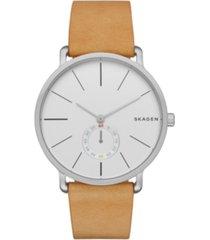 skagen men's hagen stainless steel multifunction tan leather watch 40mm