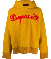 dsquared2 textured logo hoodie - yellow