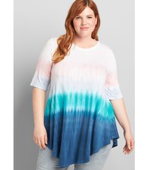 lane bryant women's perfect sleeve max swing tunic tee 34/36 multi tie dye