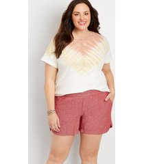 maurices plus size womens red linen pocket dolphin 4in shorts