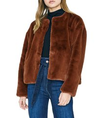 women's sanctuary starry night faux fur jacket, size small - brown