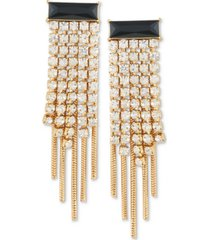 guess gold-tone jet crystal & rhinestone multi-chain chandelier earrings