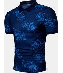 camicia da uomo casual da uomo stampata con colletto rovesciato sottile camicia da golf in cotone manica corta