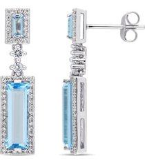 baguette cut blue topaz (4-1/5 ct. t.w.) and diamond (1/3 ct. t.w.) drop earrings in 14k white gold