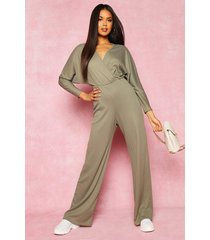 recycled plunge wide leg rib jumpsuit, olive