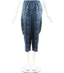 burberry printed silk cropped pants blue/black sz: l
