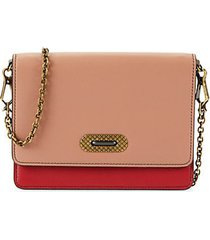 rose colorblock leather chain wallet