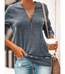 camiseta de manga larga con diseño de cremallera