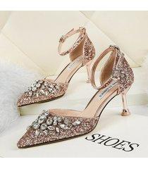 mujer sandalias zapatos de tacon con lentejuela fashion-cool-champan