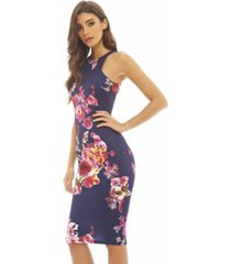 ax paris cut in detail neck floral printed midi dress