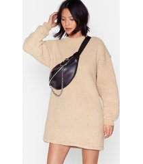 womens this isn't over faux shearling sweater dress - camel