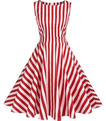 striped knotted high rise flare dress