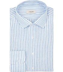 camicia da uomo su misura, canclini, lino celeste, primavera estate | lanieri