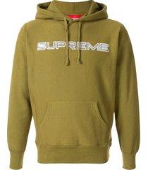 supreme sequin logo hoodie - green