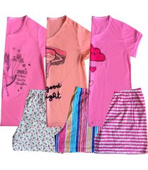 kit 3 short doll plus size manga curta feminino adulto