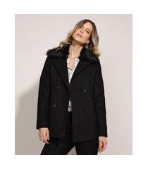 casaco trench coat feminino transpassado gola com pelo preto