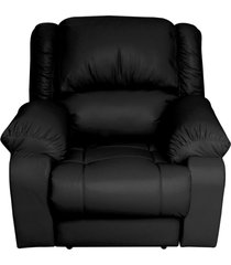 poltrona do papai reclinável elétrica com massagem magnum couro preto - gran belo
