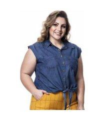 camisa regata feminina cropped jeans de amarrar plus size