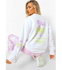 oversized bloemenprint sweater met opdruk, ecru