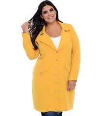 casaco trench coat forma rara mostarda com botões dourados