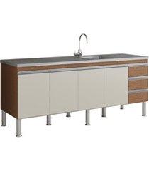 gabinete para cozinha ibiza 80x194cm amêndoa e off white
