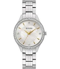 bulova women's crystal stainless steel bracelet watch 32mm, created for macy's