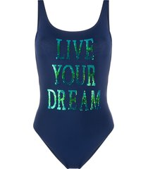 alberta ferretti sequin slogan swimsuit - blue